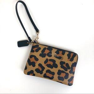 Coach leopard print wristlet wallet zipper